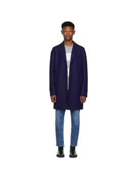 Navy Pressed Boxy Coat by Harris Wharf London