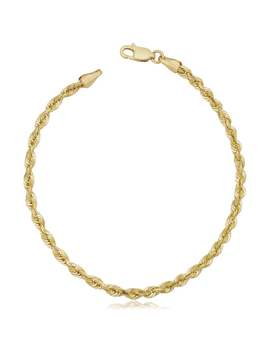 Fremada Unisex 10k Yellow Gold 3.2 Millimeters Semi Solid Rope Chain Bracelet (7.5 Or 8.5 Inches) by Fremada