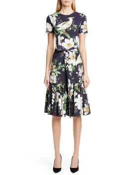 Floral Print Stretch Cotton Dress by Carolina Herrera