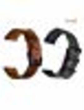 Ldfas Leather + Nylon Band Compatible For Samsung Galaxy Watch 42mm Bands, Galaxy Watch Active 40mm Band, Quick Release 20mm Replaceable Watch Strap, Brown Leather+ Charcoal Nylon (2 Pack) by Ldfas
