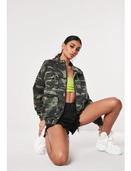 Green Camo Pocket Zip Through Jacket by Missguided