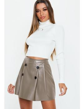 Gray Faux Leather Button Pleated Mini Skirt by Missguided