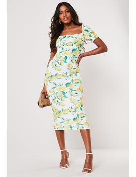 Yellow Lemon Print Milkmaid Bodycon Midi Dress by Missguided