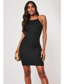 Black T Bar Back Halterneck Mini Dress by Missguided