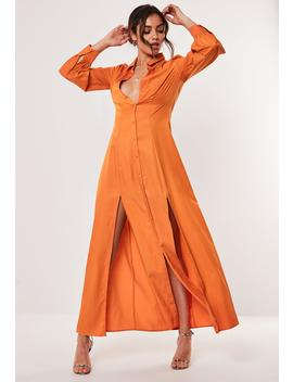 Orange Double Split Maxi Shirt Dress by Missguided