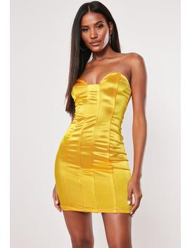 Yellow Satin Corset Mini Dress by Missguided