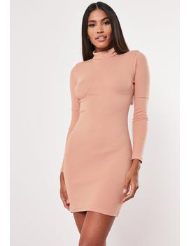 Nude Ribbed Under Bust Seam Bodycon Mini Dress by Missguided