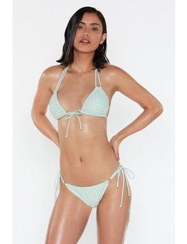 Mix &Amp; Match Sage Gingham Triangle Bikini Top by Nasty Gal