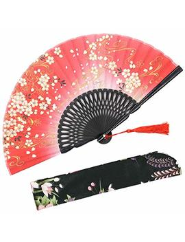 "O My Tea ""Sakura Wind Folding Hand Held Silk Fans For Women   With A Fabric Sleeve For Protection For Gifts   Chinese/Japanese Vintage Retro Style (Red) by O My Tea"