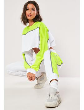 Lime Colourblock Reflective Co Ord Joggers by Missguided