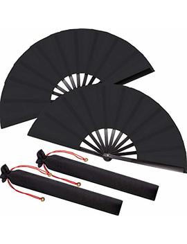 Large Black Folding Silk Hand Fan Hand Folding Fans Chinese Tai Chi Folding Fan For Men And Women Performance, Dance, Decorations, Festival, Gift (2 Pack) by Maitys