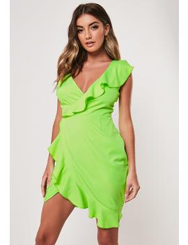 Neon Lime Asymmetric Wrap Frill Tea Dress by Missguided
