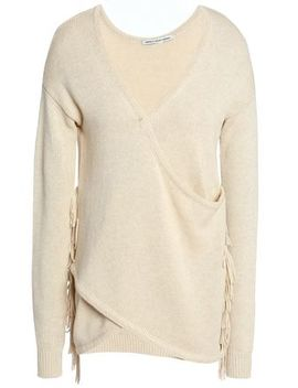 Wrap Effect Fringe Trimmed Cotton Sweater by Autumn Cashmere