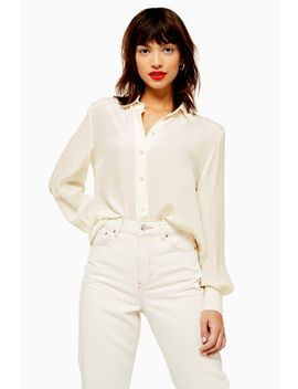 Ivory Silk Shirt by Topshop