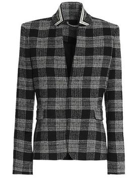 Harris Appliquéd Checked Bouclé Tweed Blazer by Alice + Olivia