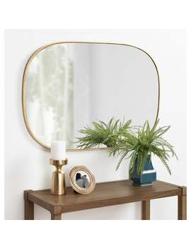 Kate And Laurel Caskill Rounded Rectangle Gold Leaf Wall Mirror by Kate And Laurel