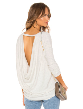 Heathered Rib Open Back Blouse by Bobi
