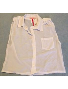 Supre Size Xs/8 Chiffon Cropped Sleeveless White Shirt/Blouse Bnwt   One Only by Supre