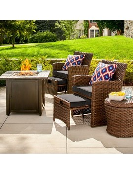 Halsted 6pc Wicker Patio Fire Chat Set   Threshold by Threshold