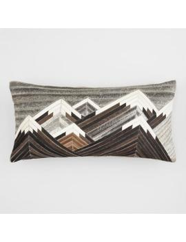 Oversized Peak Patchwork Leather Hide Lumbar Pillow by World Market