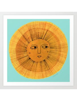 Sun Drawing   Gold And Blue Art Print by Society6