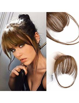 Aisi Queens Air Bangs Medium Brown Natural Flat Bangs Real Human Hair One Piece Clip In Fringe Hair Extensions For Women by Aisi Queens