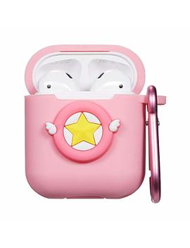 Logee Pink Star Case For Apple Airpods Charging Case,Cute Silicone 3 D Cartoon Airpod Cover,Soft Protective Accessories Kits Skin With Carabiner,Character Cases For Kids Teens Girls Guys (Airpods) by Joyleop