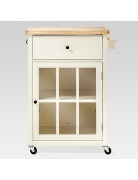 Windham Wood Top Kitchen Cart   Off White   Threshold by Off White