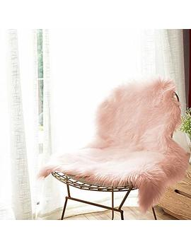 Carvapet Luxury Soft Faux Sheepskin Chair Cover Seat Cushion Pad Plush Fur Area Rugs For Bedroom, 2ft X 3ft, Pink by Carvapet