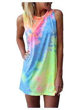 Maximgr Women's Summer Sleeveless Tie Dye Round Neck Rainbow Long Top Mini Dress by Maximgr