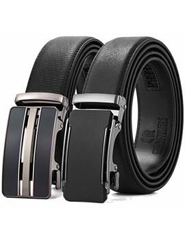 "Ratchet Click Belt 2 Packs With Sliding Buckle 1 3/8"" In Gift Set Box   Trim To Adjustable Perfect Fit by Chaoren"