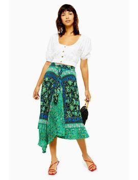 Green Paisley Print Midi Skirt by Topshop