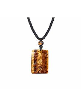 Haskare Mens Stone Pendant Tiger Eye Chakra Healing Pendant Necklace, Adjustable 27.5 Inch by Haskare