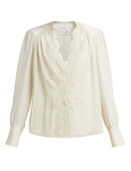 Lace Trimmed Silk Georgette Blouse by Chloé