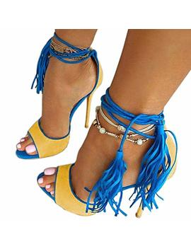 Women's Dress Sandals, Fashion High Heels, Fringed Lace Up Sandals Red Yellow by Hinyyrin