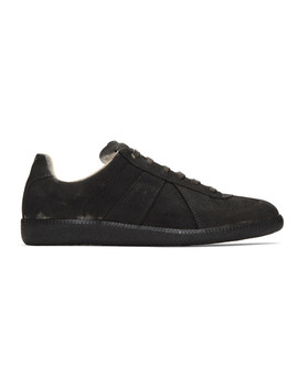 Black Coated Replica Sneakers by Maison Margiela
