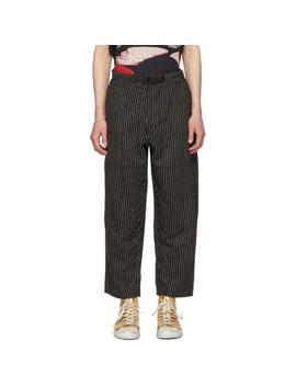 Black & White Striped Wool Japanese Railroad Trousers by Enfants Riches DÉprimÉs