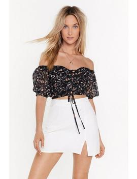Floral Lace Up Bardot Top by Nasty Gal