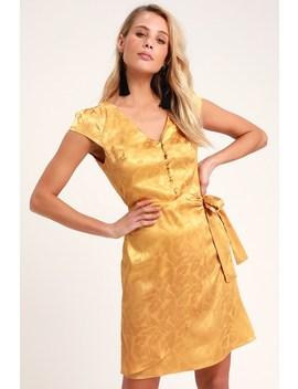Iconic Mustard Yellow Satin Faux Wrap Mini Dress by Lulus