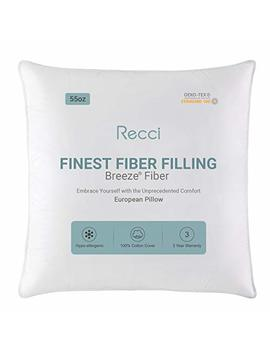 "recci-26""-x-26""-euro-pillow-plush-breeze-fiber-throw-pillow,-luxury-firm-stomach-sleeping-pillow,-queen-size-down-hypoallergenic-pillows,-55oz,-white by recci"