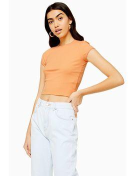Peach Picot Trim T Shirt by Topshop