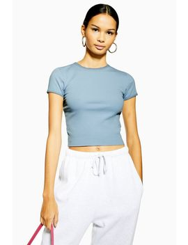 Blue Picot Trim T Shirt by Topshop