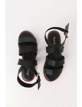 Crissana Black Ankle Wrap Flat Sandals by Lulu's
