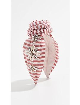 Striped Shell Embellished Bun Headband by Namjosh