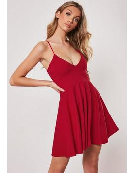 Red Strappy Skater Mini Dress by Missguided
