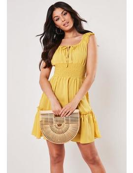 mustard-shirred-waist-mini-dress by missguided