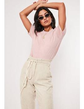 Pink Washed Basic T Shirt by Missguided