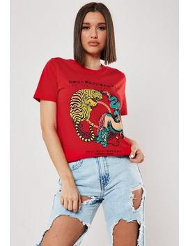 red-tiger-print-graphic-t-shirt by missguided