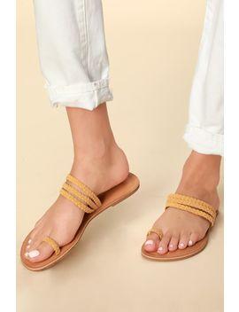 Maraline Mustard Suede Strappy Flat Sandals by Lulu's