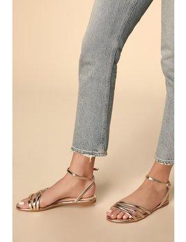 Delia Gold Flat Sandals by Lulu's